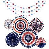 Tuoyi 独立記念日デコレーション ペーパーファンデコレーション レッドホワイトブルースターストリーマー 愛国的な7月4日のデコレーション
