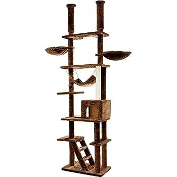 ottostyle.jp キャットタワー[EAGLE TWIN TOWER] 突っ張り式 ツインタワー 【ブラウン】 幅123cm×奥行40cm×高さ235~255cm ハンモック 爪とぎ