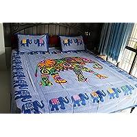 伝統的インドBedspreads、Indian寝具セット、Elephant Wall Hanging、インドコットンBedspreads with 2一致するピロー、サイズ100