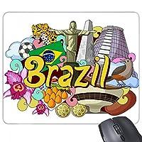 サッカーのオスカー・ニーマイヤーブラジルグラフィティ 長方形のノンスリップゴムパッドのゲームマウスパッドプレゼント
