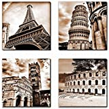 Canvas Wall Art Famous Old Architecture Canvas Artwork - 4 Piece Framed Canvas Art for Wall Decor - Contemporary Canvas Pictu