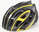 KINGSIR 超軽量 大人用 サイクリング ヘルメット サイズアジャスター 調整可能 速乾ベンチレーション (ブラックイエロー,ベンチレーション重視プラスタイプ)