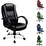 ALFORDSON Executive PU Leather Office Chair Computer Gaming Racer Black Seat