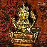 1 の # 002 で、チベット仏教の 4 つのピースが、武装 Shadakshari 観世音菩薩黄銅、金めっきが施された仏像 33 CM /彫刻の置物アンティーク