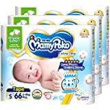 MamyPoko Extra Dry Skin Organic Tape Diapers, S, 66 Count, (Pack of 3)