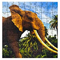 Wooden Jigsaw Puzzles - African Elephant - 101 Unique Pieces Challenge any Puzzle Lover from ages 8 to 98 - Made in the USA by Mosaic Puzzles/Zen Art & Design