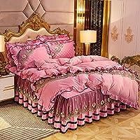 4ピースセット寝具セット冬厚いサンゴフリースフリルベッドスカート洗えるフランネル柔らかい暖かく快適な羽毛布団カバー1 x布団カバー+ 2 x枕カバー+ 1 xベッドスカート