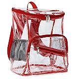 Zicac 透明バッグ リュックサック クリア ナップザック シースルー 透明リュック PVC 可愛い 急な雨に対応ができ 通学・通勤・温泉・街歩き レディース・ガールズ (レッド)