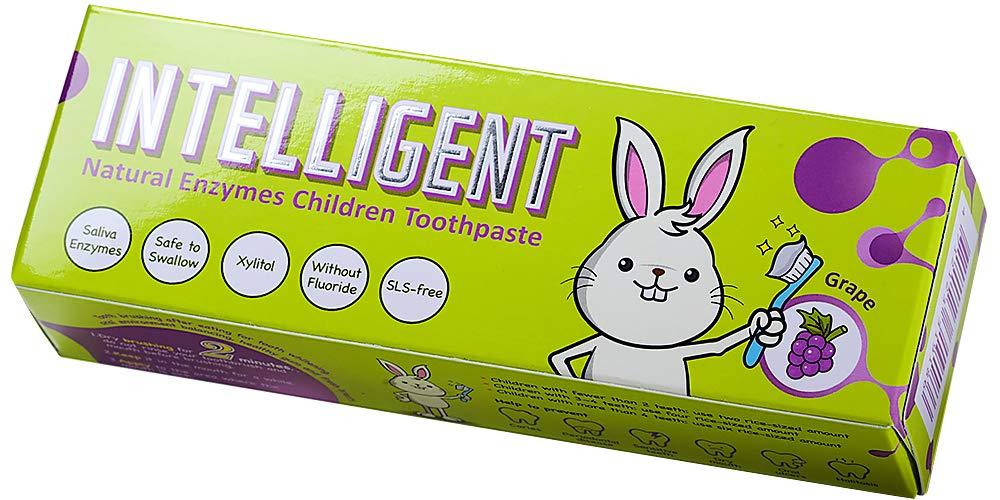 Technology Corp INTELLIGENT天然の唾液酵素のベビー歯磨き粉子供用、 フッ素なし、発泡剤不使用、 ぶどうの味 40g 辛くない,ミントなし ぶどう 40g, 1匹