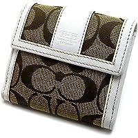 [コーチ]COACH シグネチャーストライプ コンパクト 二つ折り財布 ベージュ ホワイト ユニセックス 中古