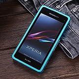 【Fitwhiny】Xperia A2 SO-04F/Xperia J1 Compact アルミバンパー【全10色】イヤホンジャックキャップ付き メタルバンパー ケース カバーアルミ バンパー フラットデザイン スライド式 SO04F (スカイブルーメタリック)(167-6)