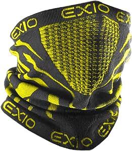 EXIO(エクシオ) ネックウォーマー フリーサイズ 冬 防寒 防風 バイク 登山 スポーツ 速乾 ブラック(イエロー)