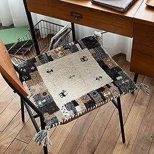 サヤンサヤン 手織り 座布団 チェアマット フレーム 無染色 ギャベ HG919 40x40 ウール