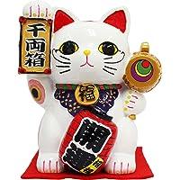 日本土産 提灯付き千万両猫 貯金箱 Maneki-neko senmanryou / Saving box (白)