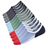 Mens No Show Low Cut Non Slip Socks - 3/6 Pack Casual Crew Ankle Mesh Knit Cotton Socks