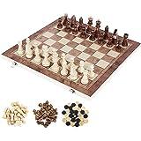 bestjunly 木製チェスセット 国際チェス 木製風 チェッカー付き ボードを折りたたむと収納可能 アンティーク 3…