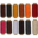 RMTIME 蝋引き糸 ロウ引き糸 ワックスコード ろう引き糸 レザークラフト 手縫い糸 レザークラフト用紐 カラフル 12色セット 各50m 手縫い 編み用糸 DIY 紐 糸 革 レザークラフト 初心者 練習 1mm直径