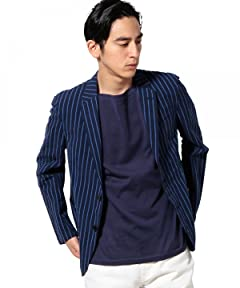 Cotton Linen Seersucker Stripe Jacket 3222-186-0266: Navy