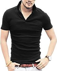KMAZN スキッパーポロシャツ メンズ Tシャツ カットソー 半袖 無地 トップス カジュアル コーデ 黒 白 春 夏 秋 ゴルフ メンズ