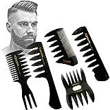 ヘアコンビ デュアルサイド ポマード メンズ オイルヘアピック 櫛 サロン ヘアスタ イリング 理髪道具 静電気防止 男…
