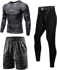 コンプレッションウェア セット メンズ トレーニング スポーツウェア 長袖 半袖 ハーフパンツ タイツ 吸汗速乾 3点セット/4点 セット