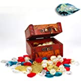 Jewelry Box 76 PCs DND Accessories Gold Coins Gift Dice Box, Fantasy for Dungeons & Dragons Novelty Tabletop RPG Board Games