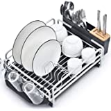 Kingrack Dish Rack, Aluminum Dish Drainer,Dish Drying Rack with Removable Drip Tray, Large Storage Draining Board, Cutlery Ho