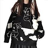 Women Devil Sweater Monster Pattern Long Sleeve Oversized Casual Knitting Jumper Pullover Tops