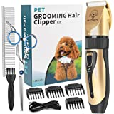 YIDON Dog Clippers, Dog Grooming kit Cordless Adjustable Pet Clippers Dog Hair Trimmer Rechargeable Dog Shears Pet Grooming P