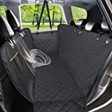 Dog Car Seat Cover, Waterproof Pet Seat Cover with Mesh Visual Window & Seat Belt Opening & Storage Pockets, Wear-Proof Dog B