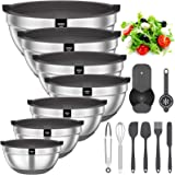Mixing Bowls with Airtight Lids, 20 piece Stainless Steel Metal Nesting Bowls, AIKKIL Non-Slip Silicone Bottom, Size 7, 3.5,