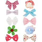Belle Beau Baby Girls Hair Clips, Ribbon Lined Alligator Hair Bow Clips, Hair Accessories for Babies, Toddlers, and Kids