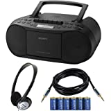 Sony CD Radio Cassette Recorder Bundled with AC Power Auxiliary Cable for iPods iPhones Smartphones MP3 Players Xtech CD Lens