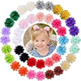 "WillingTee 40pcs 2"" Chiffon Flower Clips Ribbon Lined Clips Tiny Hair Clips for Baby Girls Infants Toddlers Kids 20 Colors in"