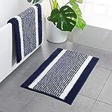 Navy Blue Chenille Bath Mat - Striped Bath Rugs Non Slip Washable 32 X 20 Inch Super Shaggy Bath Floor Mats for Bathroom Floo