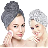 Organic Bamboo Hair Towel - Laluztop Hair Drying Towel Turban Wrap with Button, Anti Frizz Absorbent & Soft Bath Cap for Curl