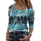 Womens Casual Shirts Long Sleeve Colorful Geometric Vintage Loose Shirt Tunic Tops