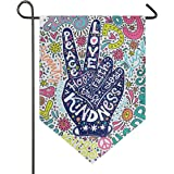 ALAZA Floral Peace Sign Gesture Garden Flag Welcome Home House Flags Double Sided Yard Banner Outdoor Decor 12 x 18 Inch, 1 P