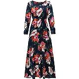 Women's 3/4 Sleeve Floral Maxi Dress Long Bohomain Dresses with Belt