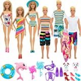 SOTOGO 20 Pieces Doll Clothes and Accessories for Barbie Ken Dolls Beach Playset Include 6 Sets Handmade Bikini Swimsuit Swim