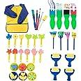 Kids Paint Set - 36-Piece Paint Sponge, Paint Brush, Foam Brayer and Artist Apron, for Kids Toddler Art Craft DIY Project, Le