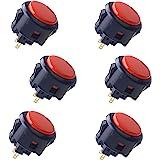 Sanwa 6 pcs OBSF-30 Original Push Button 30mm - for Arcade Jamma Video Game & Arcade Joystick Games Console (Black & Red) S@N