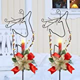 MorTime 2 Pack Christmas Garden Stakes Decor, Metal Reindeer Yard Stake with LED Lights for Home Outdoor Yard Lawn Pathway Wa