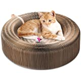 Cat,Collapsible Cat Scratcher Lounge Post with Ball Toy Bell & Catnip, High Density Recycled Corrugated Kitty Scratching Pad