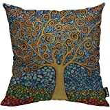 Mugod Tree of Life Pillow Cover Mosaic Art Leaf Branch Rainbow Color Nature Elegance Decorative Throw Pillow Cases Cotton Lin
