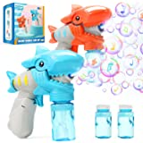 EagleStone 2 Bubble Guns with 4 Bottles Bubble Refill Solution for Kids, Lighting & Musical Bubble Blower for Bubble Blaster