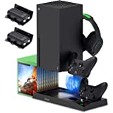 Vertical Stand for Xbox Series X with Cooling Fan, Charging Station Dock for Xbox Series X Controller with 10 Game Storage Or