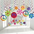 60's Hippie Theme Party Foil Swirl Decorations, 60s Groovy Party Retro Flower Cutouts Peace Sign Hanging Swirls Ceiling Decor