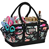 Everything Mary Craft Bag Organizer Tote, Floral - Storage Art Caddy for Sewing & Scrapbooking - Crafts Supply Carrier w/Hand