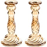 Q/A Glass Candle Holder - Gold Taper Candlestick Holders, Decorative Candle Sticks Set of 2, for Formal Events, Wedding, Chur